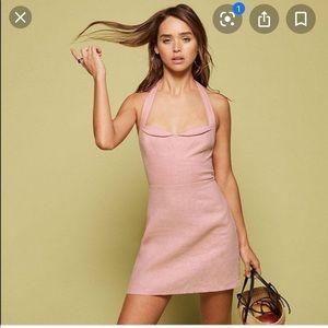Reformation Rina Halter Dress Pink Pinup Linen